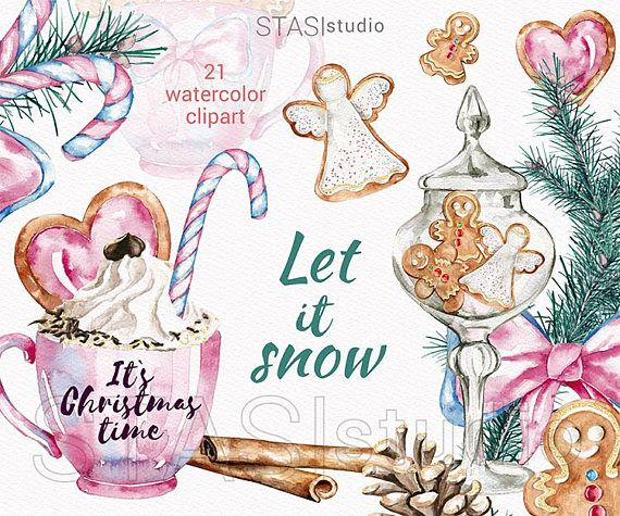 Watercolor Gingerbread Cookies Clipart Christmas Illustration