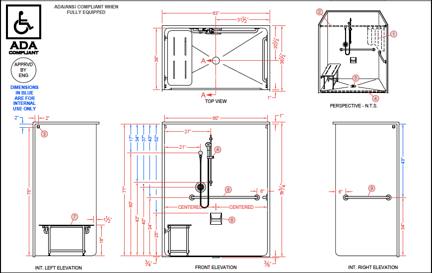 MODEL LCS6333A75B ADA Compliant Roll In Shower | Architecture ...
