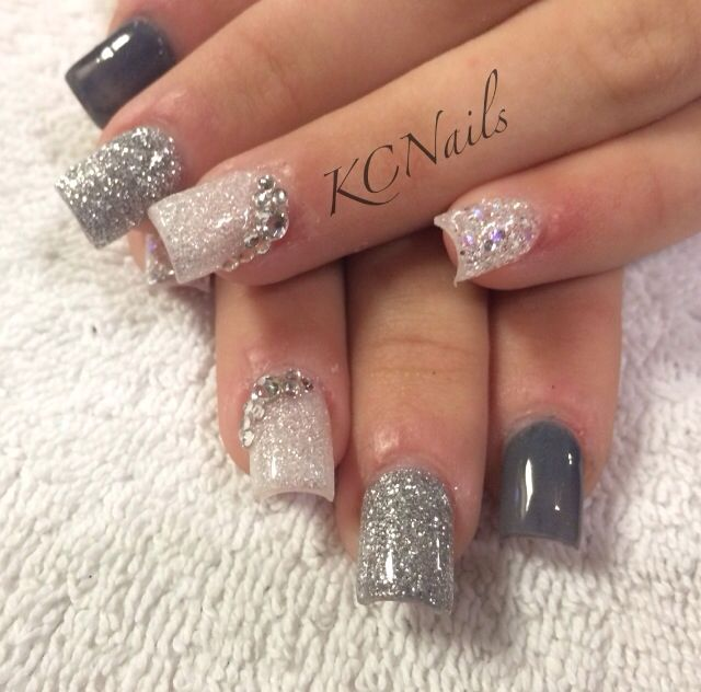 Grey/silver gradient acrylic nails. Grey ombré nails. Solid nails with Swarovski crystal accents. KCNails