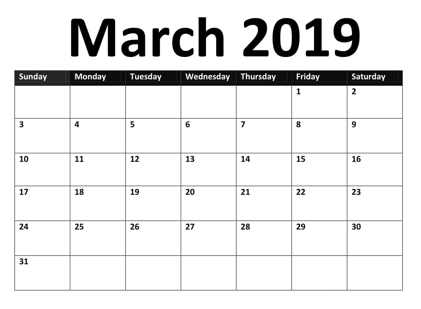 March 2019 Google Spreadsheet Calendar Template Calendar