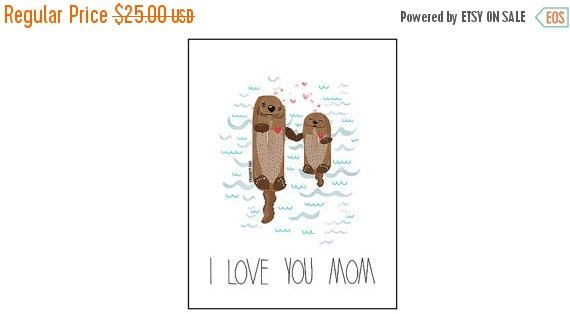 ON SALE NOW I Love You Mom Otters, Art Print. Original Spaghetti Toes Illustration