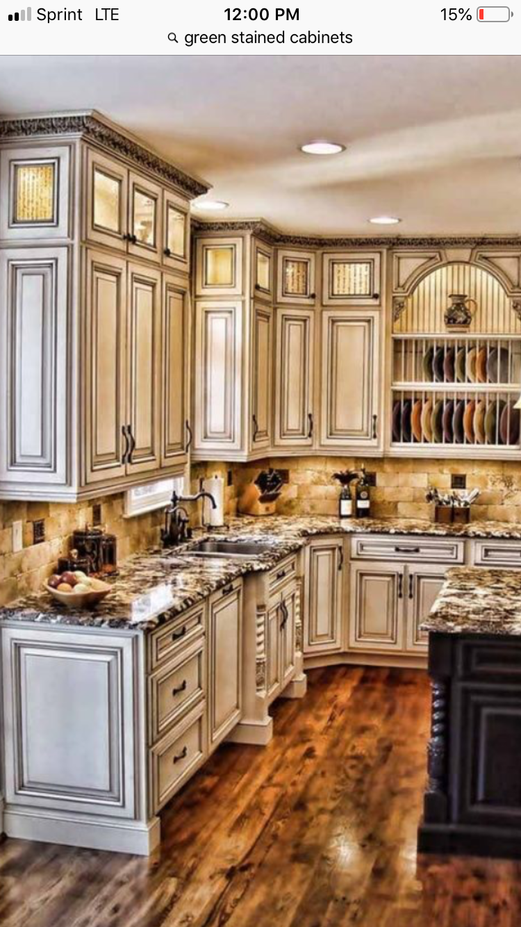 Pin By Mary Harvey On New Home Ideas Antique White Kitchen Antique White Kitchen Cabinets Rustic Kitchen