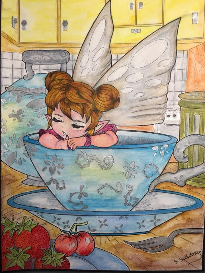 from fairies book by jade summer i have colored using caran dachen aquarelle colored pencil and some gel pens on small areas