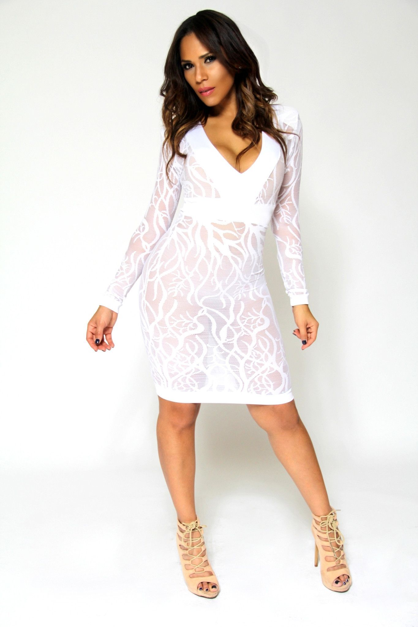 Sexy White V-Neck Long Sleeves Sheer Lace Bodycon Midi Dress ... 4477d8c99