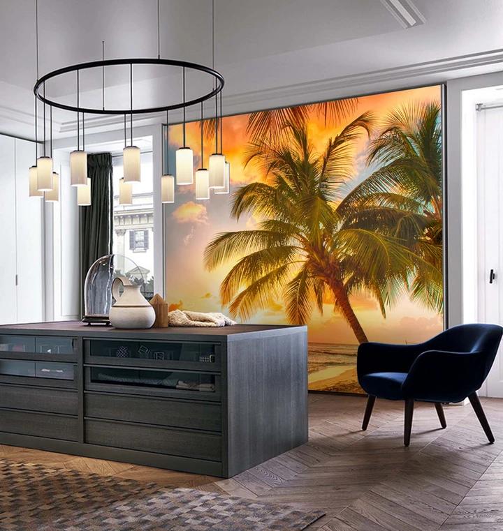 3D Tropical Beach Sunset Wall Mural Wallpaper 8 Tree