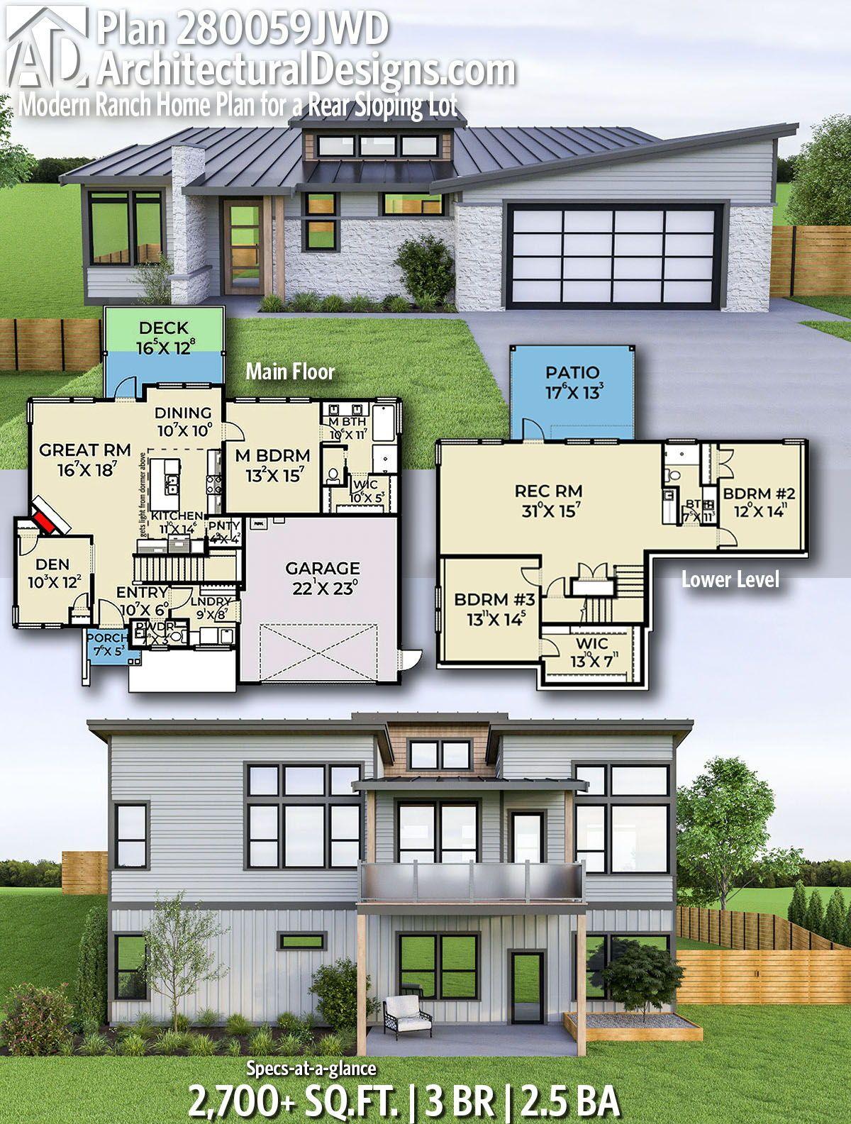 Plan 280059jwd Modern Ranch Home Plan For A Rear Sloping Lot Ranch House Plans House Plans Modern Ranch
