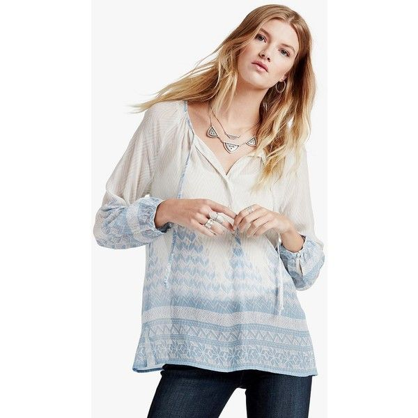 Lucky Brand Chevron Peasant Top ($45) ❤ liked on Polyvore featuring tops, blouses, blue multi, lucky brand blouse, peasant tops, long tops, blue long sleeve blouse and blue blouse