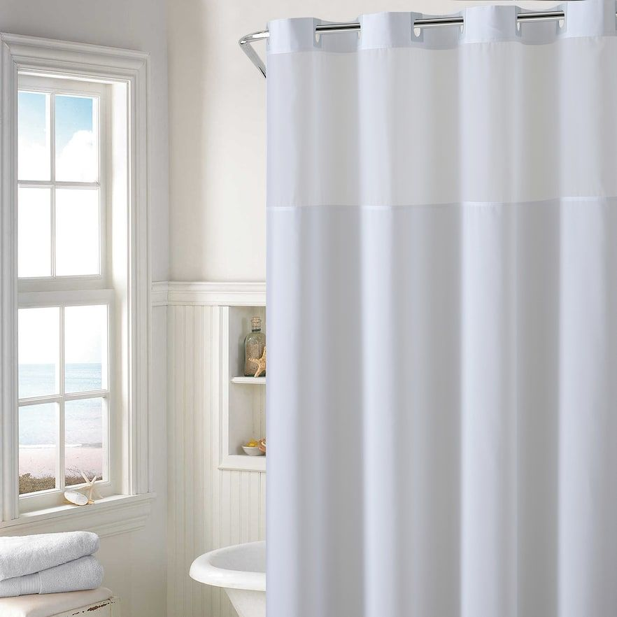 Hookless Plain Weave Shower Curtain Water Resistant Liner