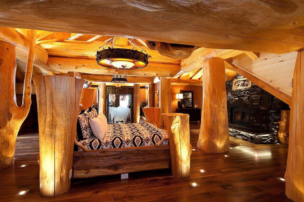 Log Home Bedroom | спальня | Pinterest | Logs, Bedrooms and Cabin