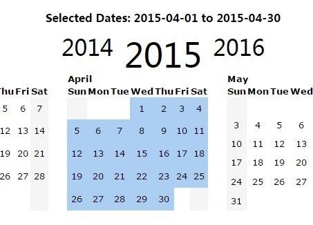 Jquery Yearly Calendar  Date Range Picker Plugin  Yearly
