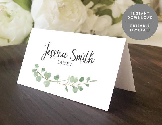 Greenery Place Card Template Printable Guest Name Card Folded Place Card Eucalyptus Editable Template Instant Download Gd Wsp117 In 2021 Wedding Name Cards Place Card Template Wedding Place Card Templates