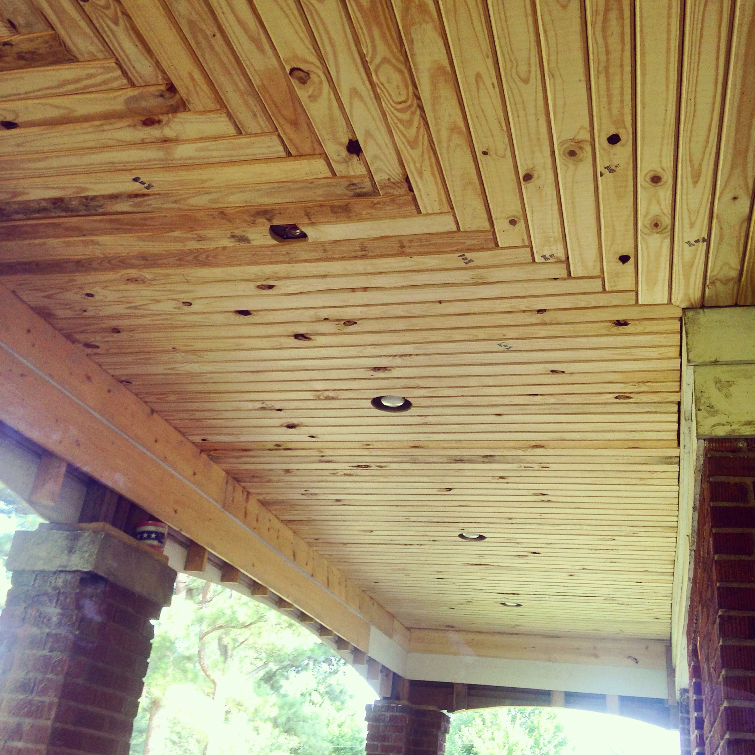 New Pine Ceiling On My Front Porch Using 1x4 Lath Material V Groove Look Was Created By Using My Hand Router Ceiling Design Wood Lathe House Design