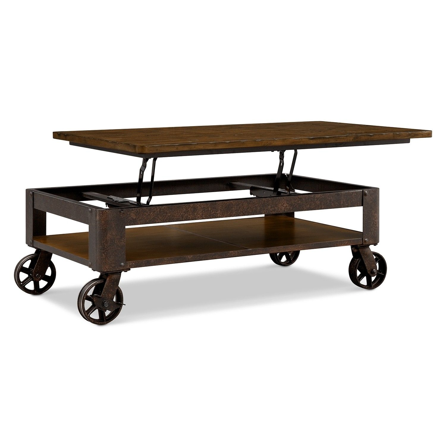 Industrial Adjustable Coffee Table with Wheeled Wood Iron Base also