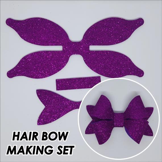Die cut glitter EVA 'Double' hair bow kit cutting DIY bow making