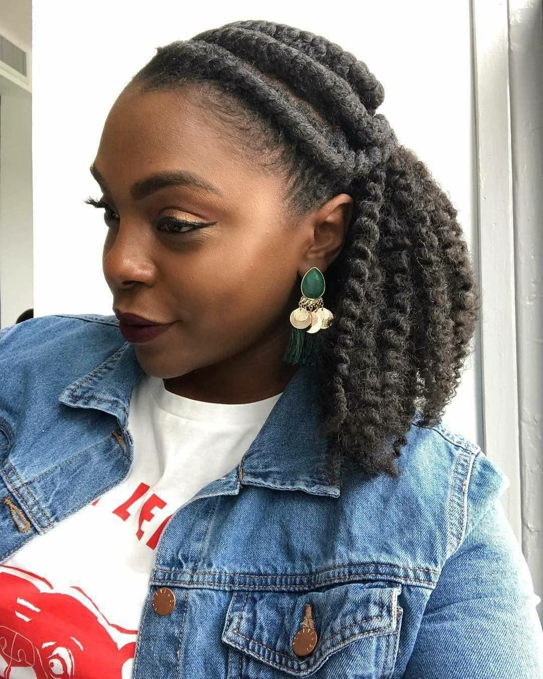 Natural Flat Twist Hairstyle Idea Curly Clip Ins Natural Hair Updo