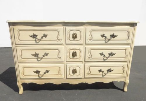 Vintage French Provincial Triple Dresser By Cau In Antiques Furniture Dressers Vanities Post 1950 Ebay