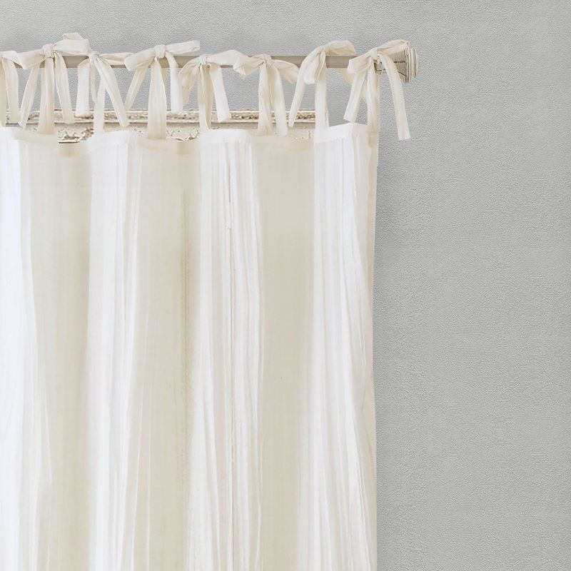 Hippolyte Solid Semi Sheer Tab Top Single Curtain Panel With