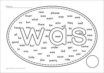 Sight Words Word Find (Primer Words)