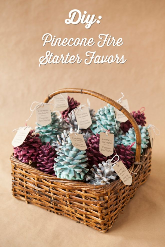 DIY - How to make Pinecone Fire Starter favors! You could make any color to fit your wedding theme!