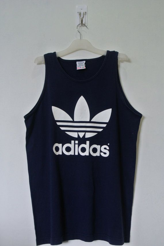 42dfd071e Vintage 90s Adidas Navy Tank Top T Shirt Men Large Trefoil Logo Made in Usa  Gym BM