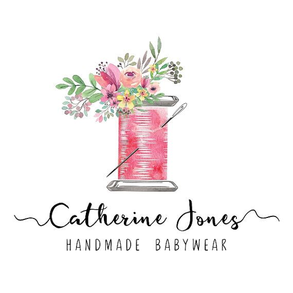 Premade Logo Design Sewing Floral Logo Sew Stitch Tailoring