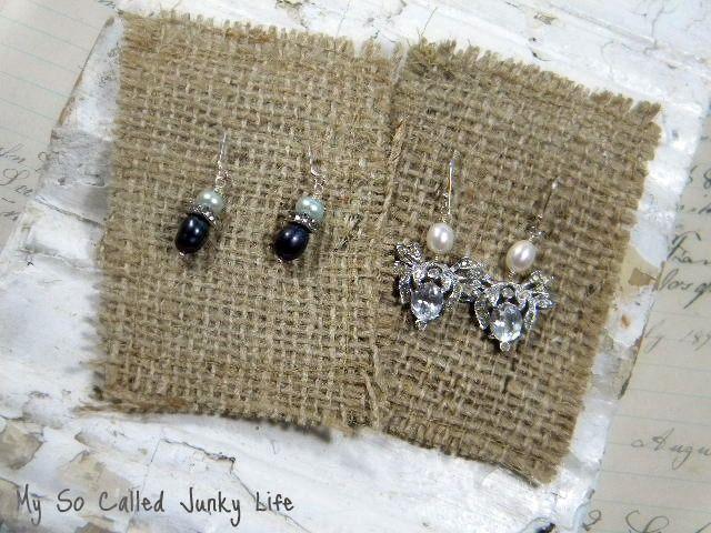 burlap earring cards