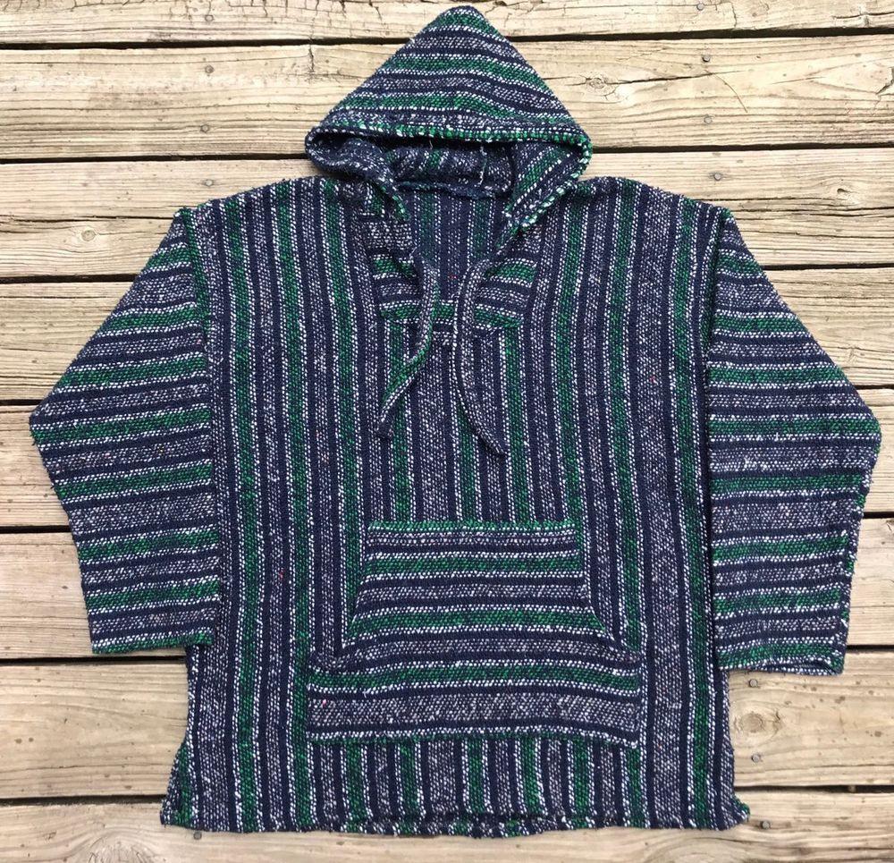 Vintage s handmade mexico woven blue u green hooded poncho