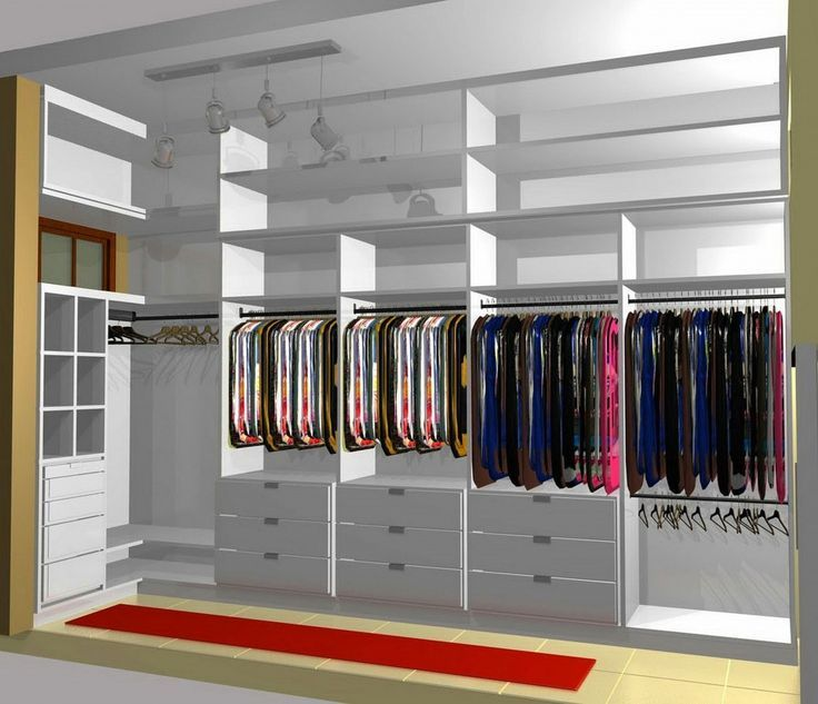 Unique Walk Closet Behind Bed And Cabinets Design Simple