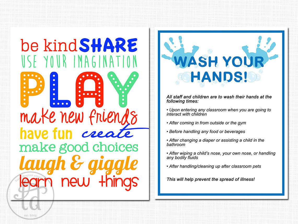 Daycare Preschool Printables Hand By Lauradraytoncreative 6 00