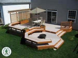 Ground Level Deck With Fire Pit Designs This Is A Three Level