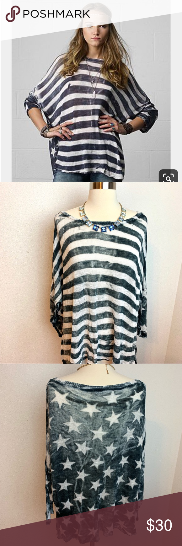 Denim & Supply Ralph Lauren Stars Stripes Top SzM Denim & Supply Ralph Lauren Stars Stripes Top Size Medium, Gray and White. In great condition, light weight, knit like fabric.  🌼Offers Always Welcomed  🌼Smoke free home 🌼Bundle and save 15%  Tags: boho fall festival concert bands concert tee   04092019 Denim & Supply Ralph Lauren Sweaters