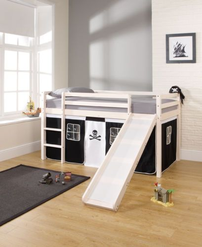 Cabin Bed Mid Sleeper with Slide and PIRATE Tent (Would pirates fit the nautical theme & The Games Factory 2 | Mid sleeper Cabin and Led lamp