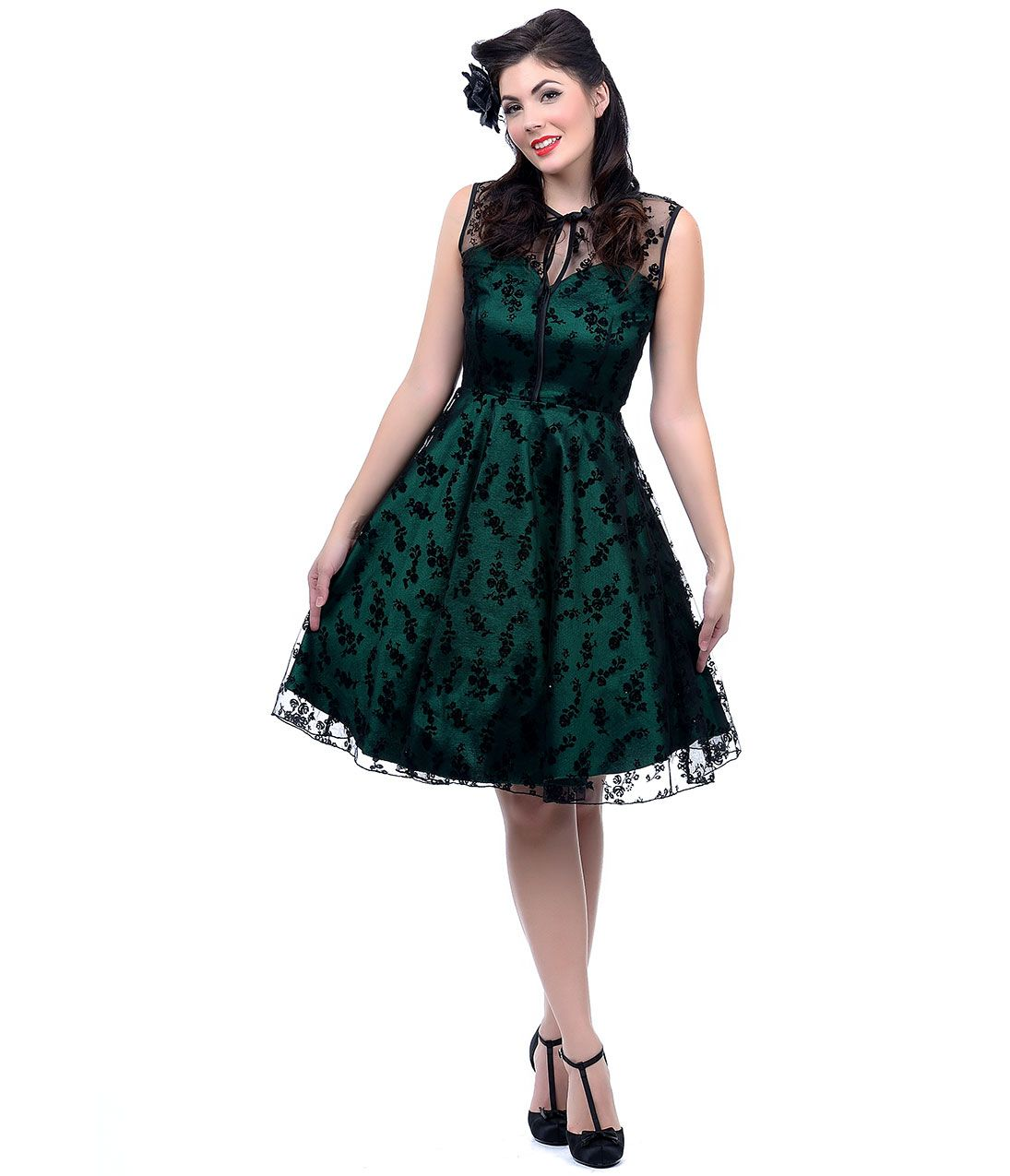 Vintage cocktail dresses party dresses prom dresses lace overlay green holiday party dress green floral flocked lace overlay cocktail dress 7400 ombrellifo Gallery