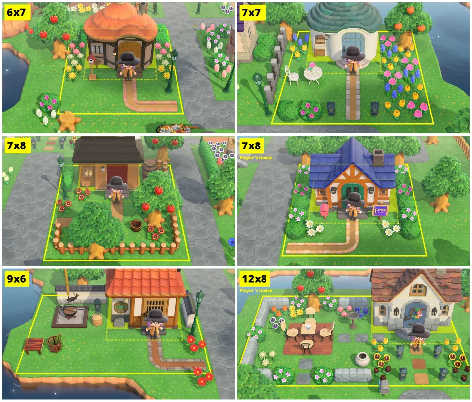 More Examples Of Villager And Player Yards With Plot Sizes Animalcrossing Animal Crossing Animal Crossing Villagers Animal Crossing 3ds
