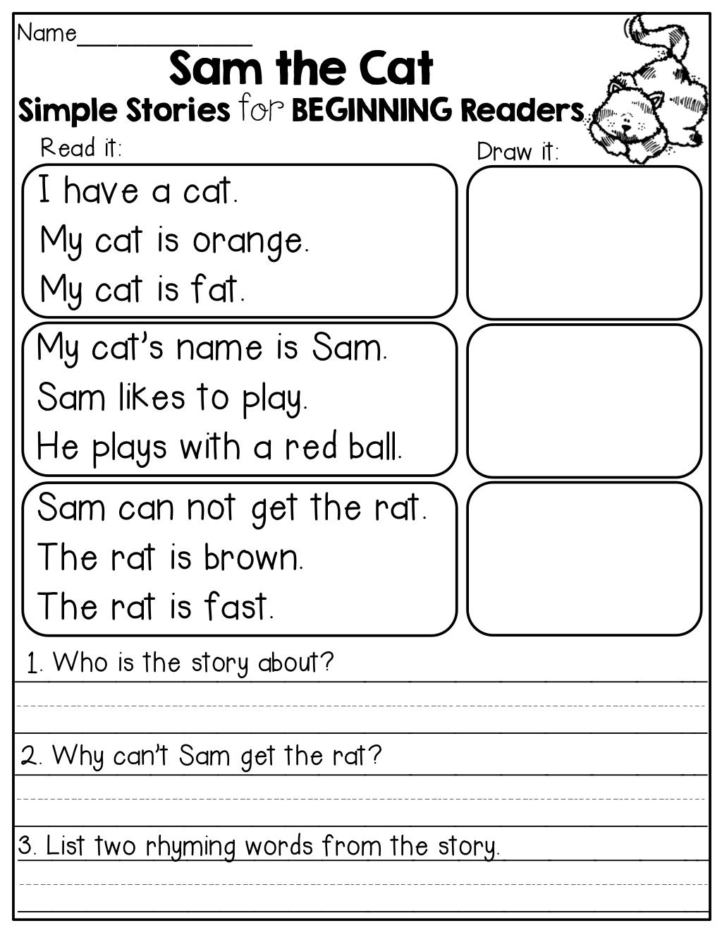 Worksheet Kindergarten Comprehension Stories simple stories for beginning readers i love the comprehension questions at end