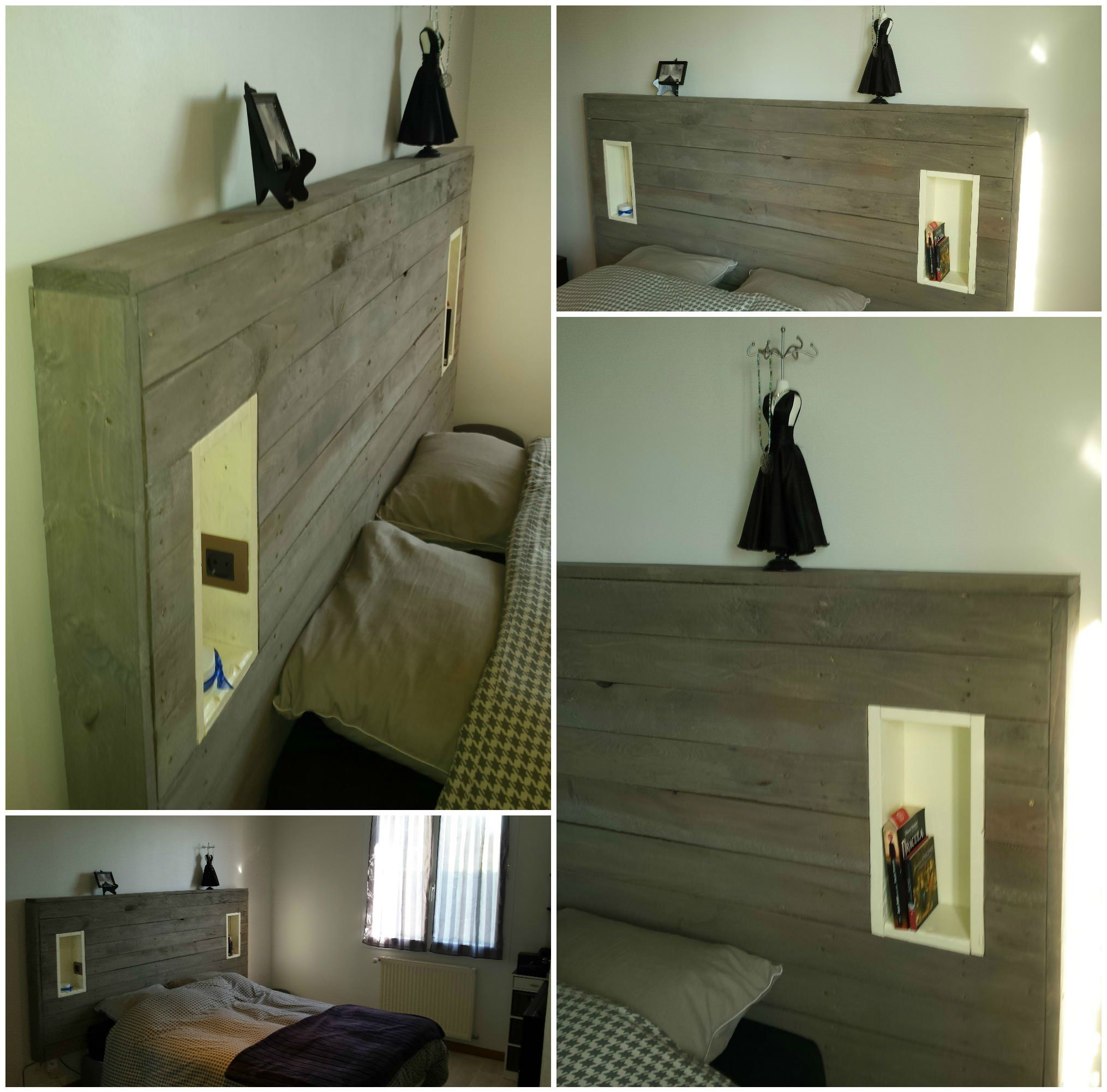 Pallet Headboard With Lights & Electric Outlet Haus