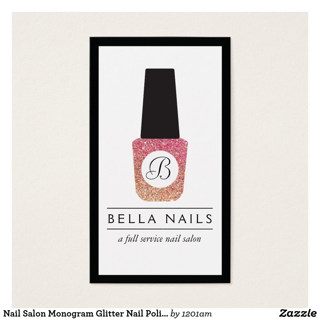 Nail Salon Monogram Glitter Nail Polish Business Card This glamorous ...