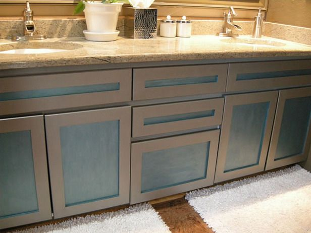 remove the doors and repaint an old bathroom vanity for an updated