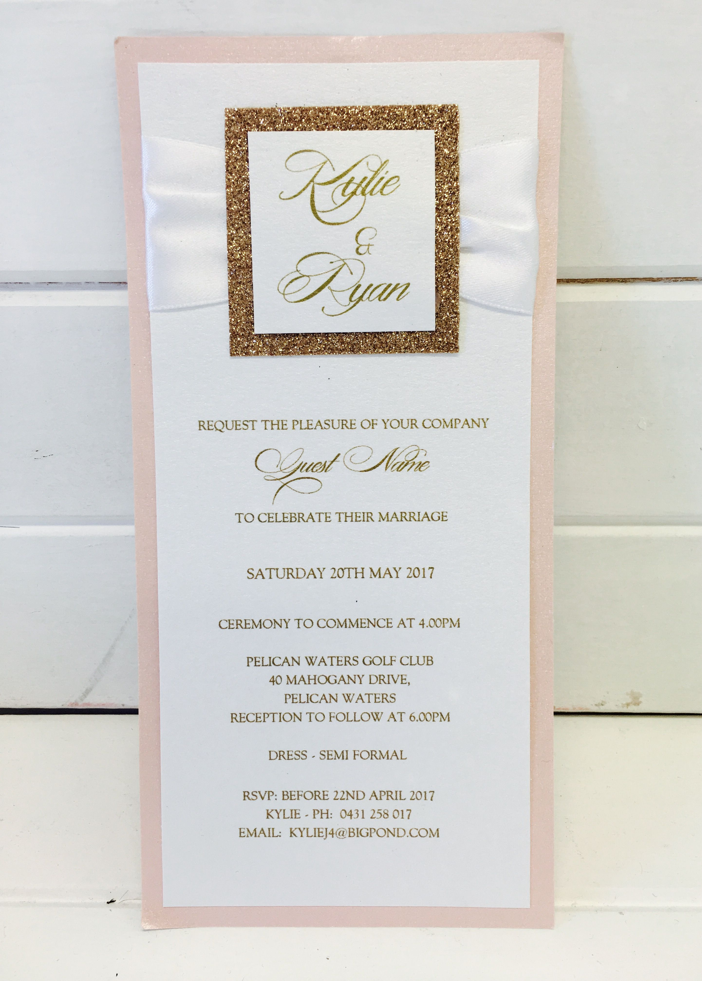 Wedding invitation Pale pink backing card with