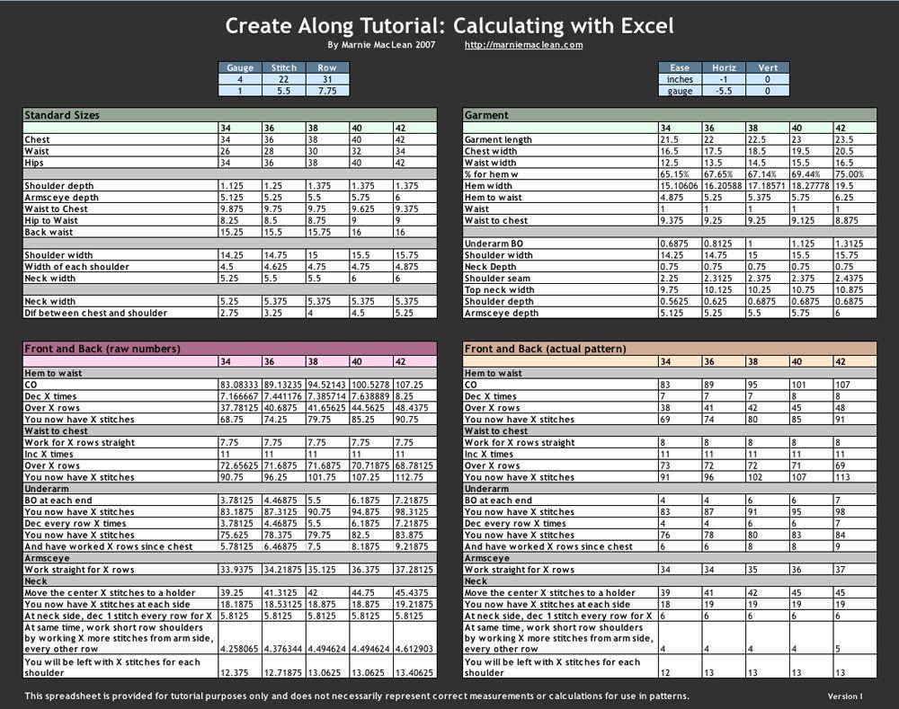 tabla de medidas y talles usando excell | knitting | Pinterest ...