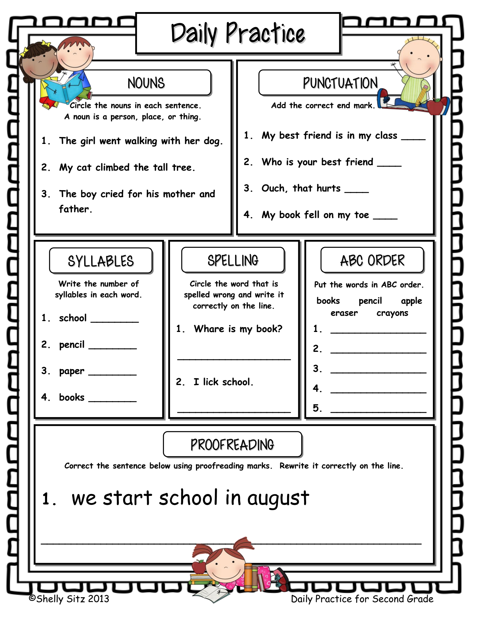 Here Is A Grammar Sheets That Involves Different Sections