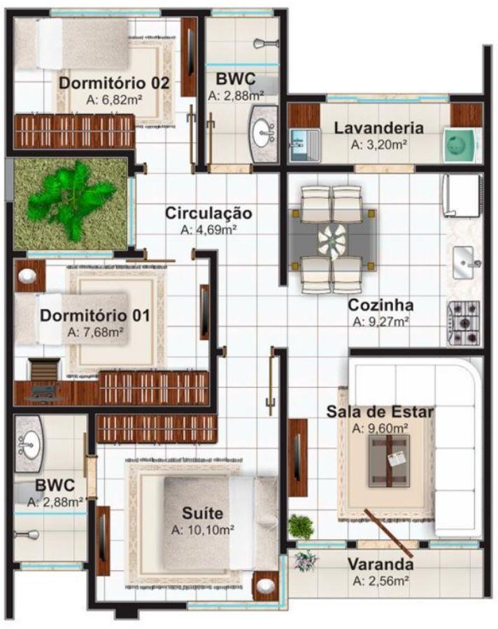 planos de casas pequenas 75 metros cuadrados