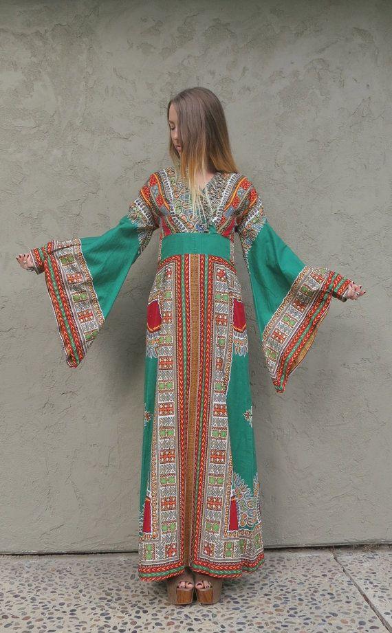 Vintage 70s Bell sleeve KAFTAN Ethnic maxi caftan by PRISMVTG, $78.00