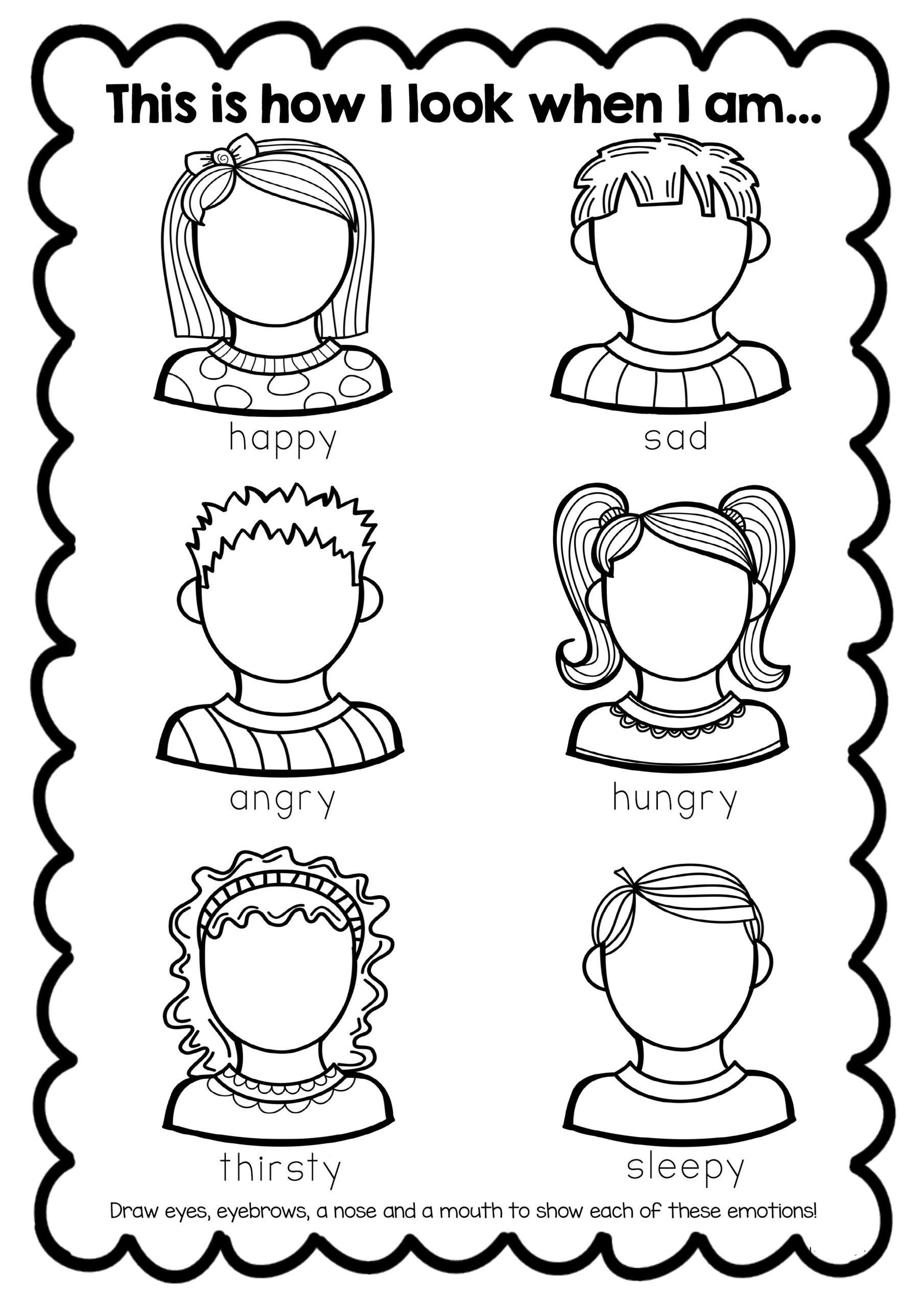 Feelings Worksheets For Kindergarten Kindergarten