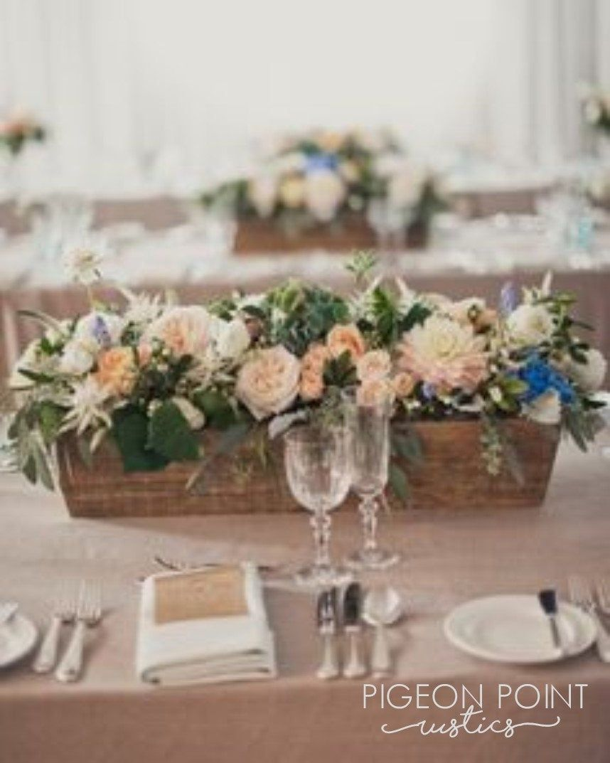 Rustic Table Centerpiece Various Sizes And Stains Available Etsy Summer Wedding Centerpieces Rustic Table Centerpieces Flower Box Centerpiece