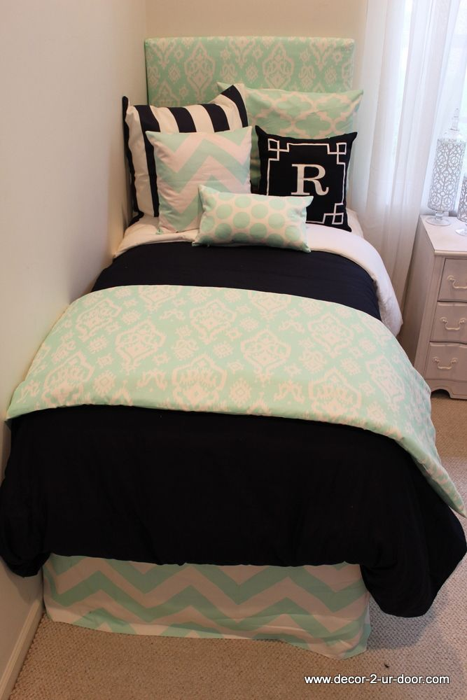 Design Your Own Dorm Room: Mint And Navy Custom Dorm Bedding