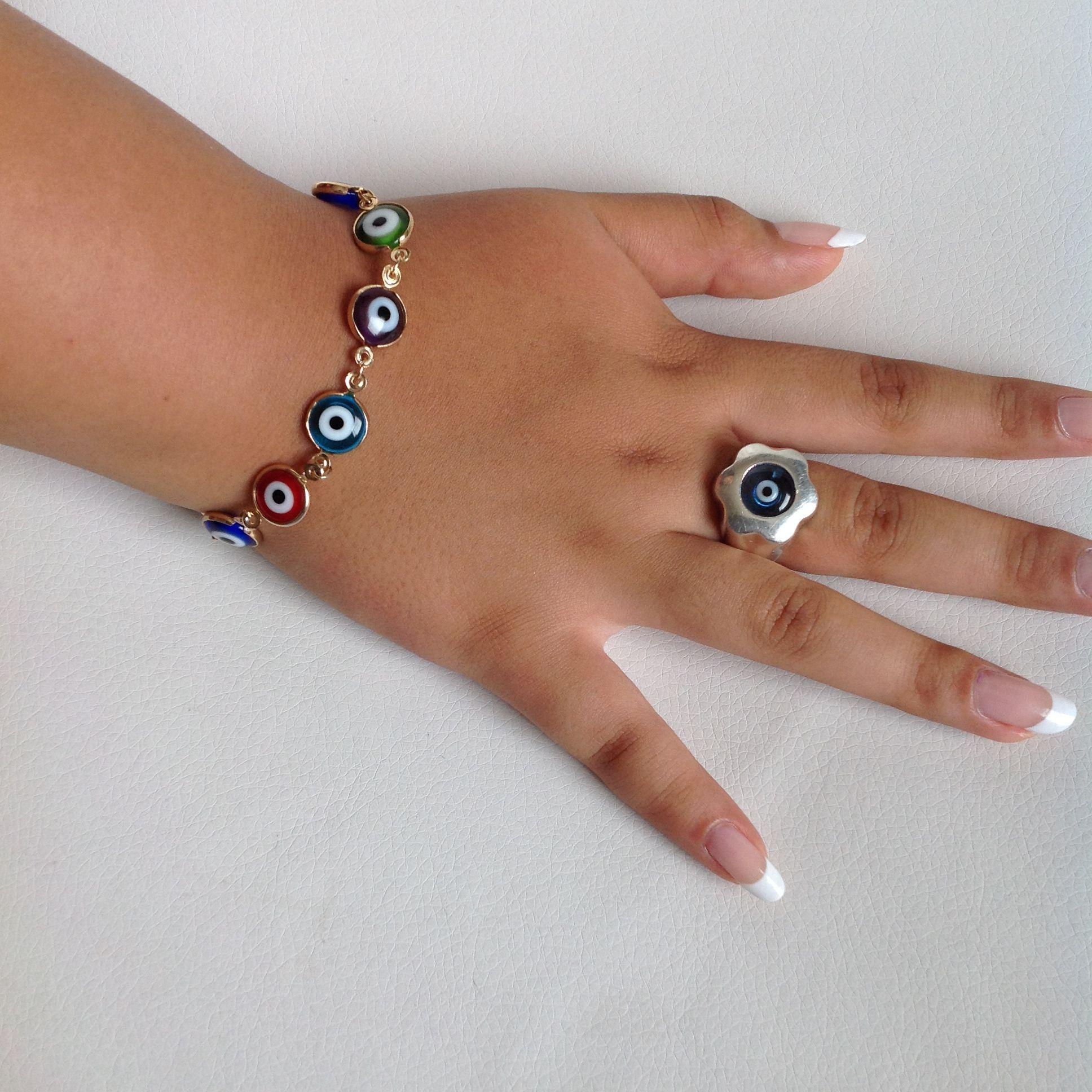 0d0d6ce61378 sortija en plata 950 diseño ojo turco y pulsera multicolor en ojos ...
