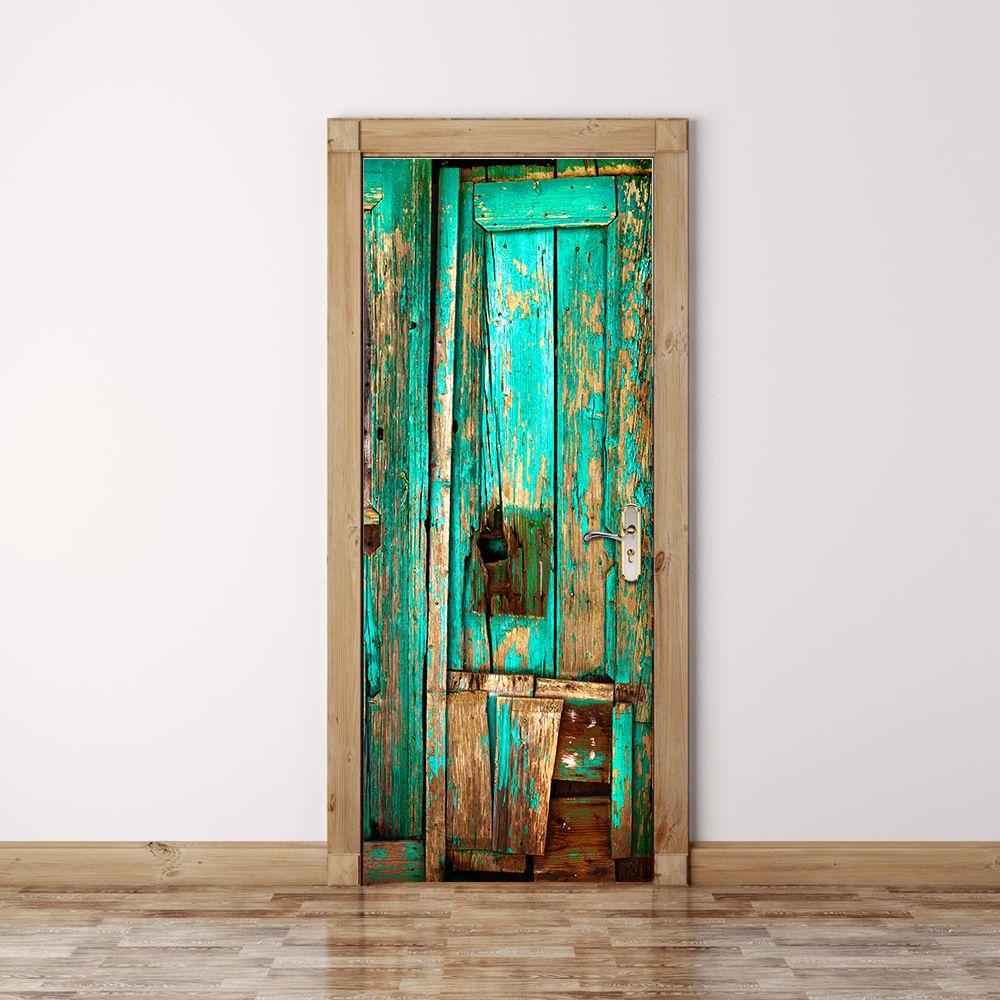 Green old wooden door pattern wall stickers bedroom doors creative