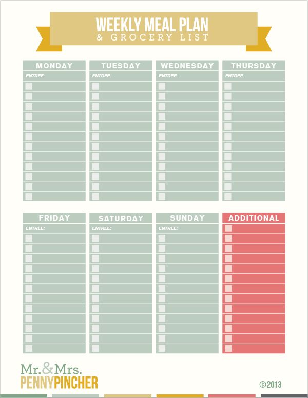 Download this FREE printable weekly meal plan and grocery list - weekly meal plan
