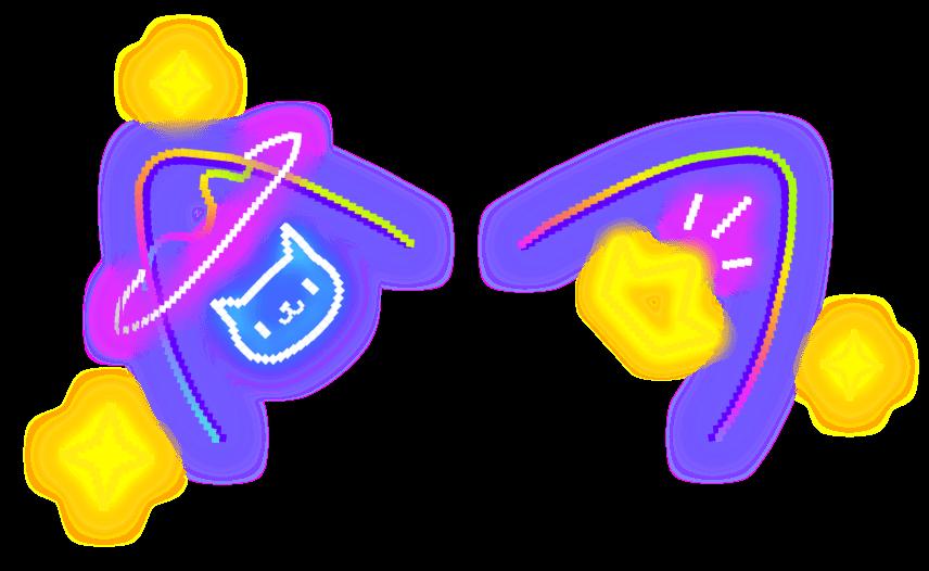 Freetoedit Cat Crown Ears Neon Galaxy Luminous Neko Lighting Glitter Cute Starlight Colorful Pixelart 8bits P Cat Stickers Overlays Cute Picsart